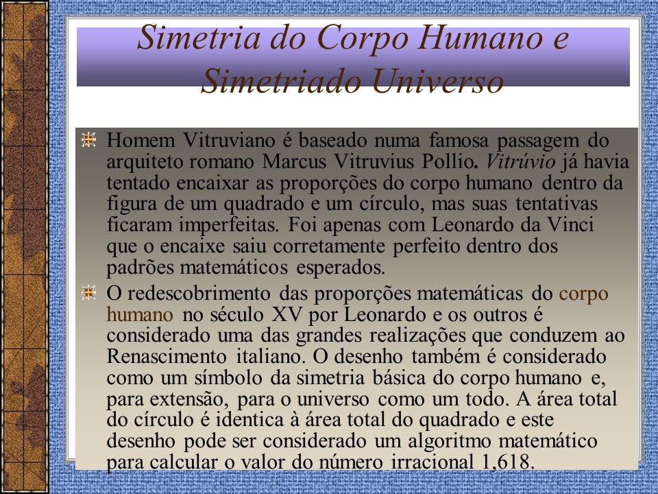 Simetria do Corpo Humano e Simetriado Universo Homem Vitruviano é baseado numa famosa passagem do arquiteto romano Marcus Vitruvius Pollio. Vitrúvio j
