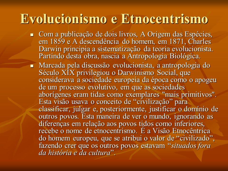 Evolucionismo e Etnocentrismo Com a publicação de dois livros, A Origem das Espécies, em 1859 e A descendência do homem, em 1871, Charles Darwin princ