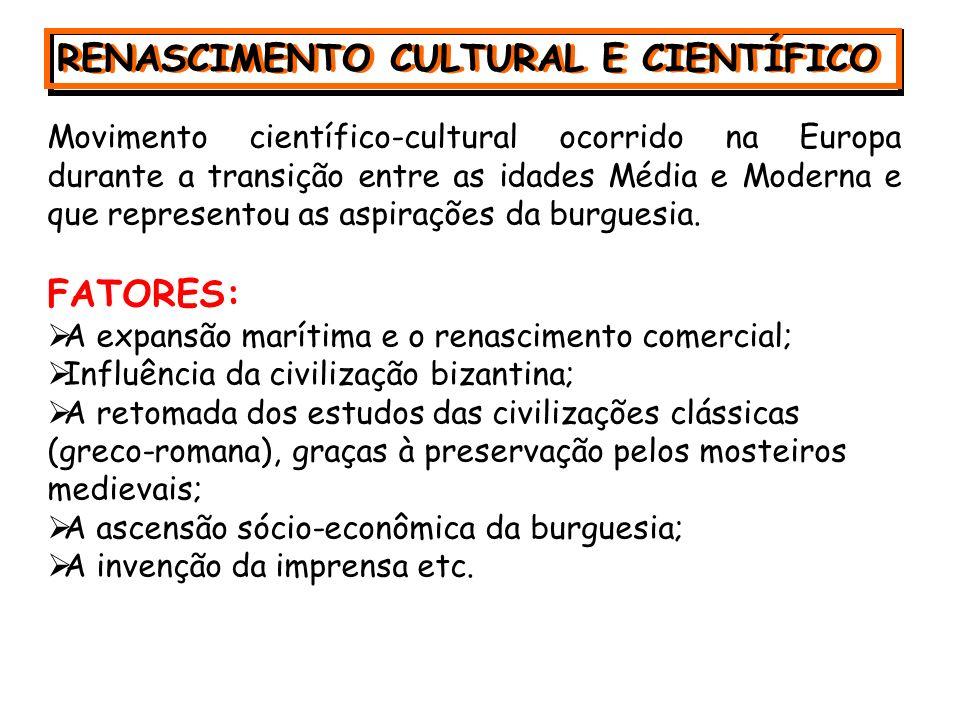 RENASCIMENTO CULTURAL E CIENTÍFICO Movimento científico-cultural ocorrido na Europa durante a transição entre as idades Média e Moderna e que representou as aspirações da burguesia.