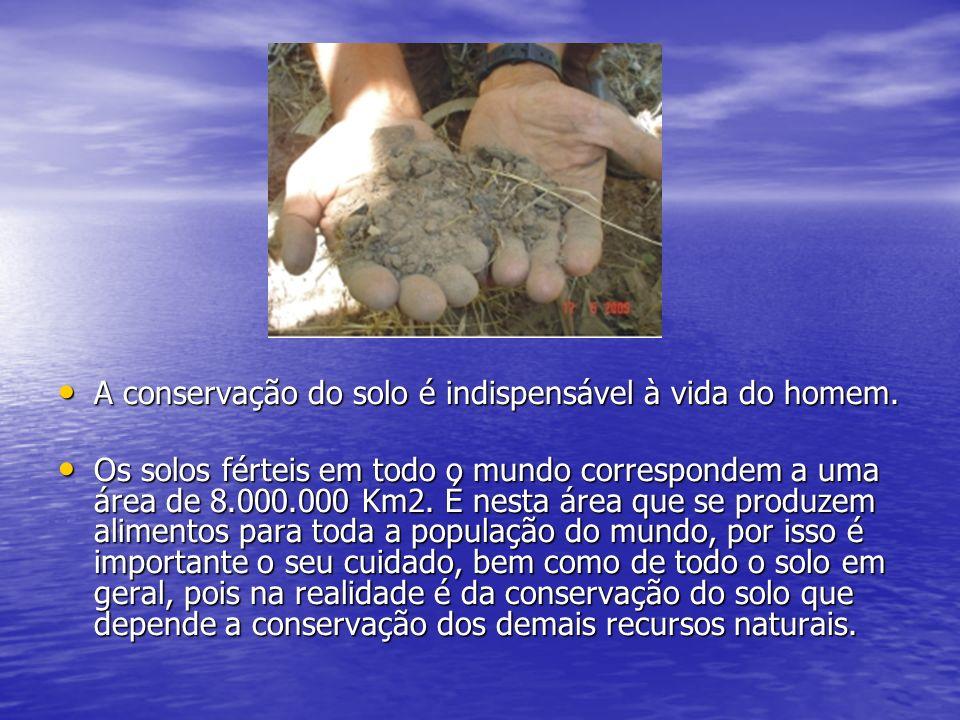 A conservação do solo é indispensável à vida do homem.