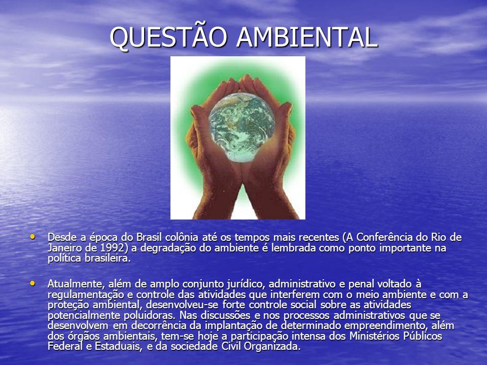 QUESTÃO AMBIENTAL Desde a época do Brasil colônia até os tempos mais recentes (A Conferência do Rio de Janeiro de 1992) a degradação do ambiente é lembrada como ponto importante na política brasileira.