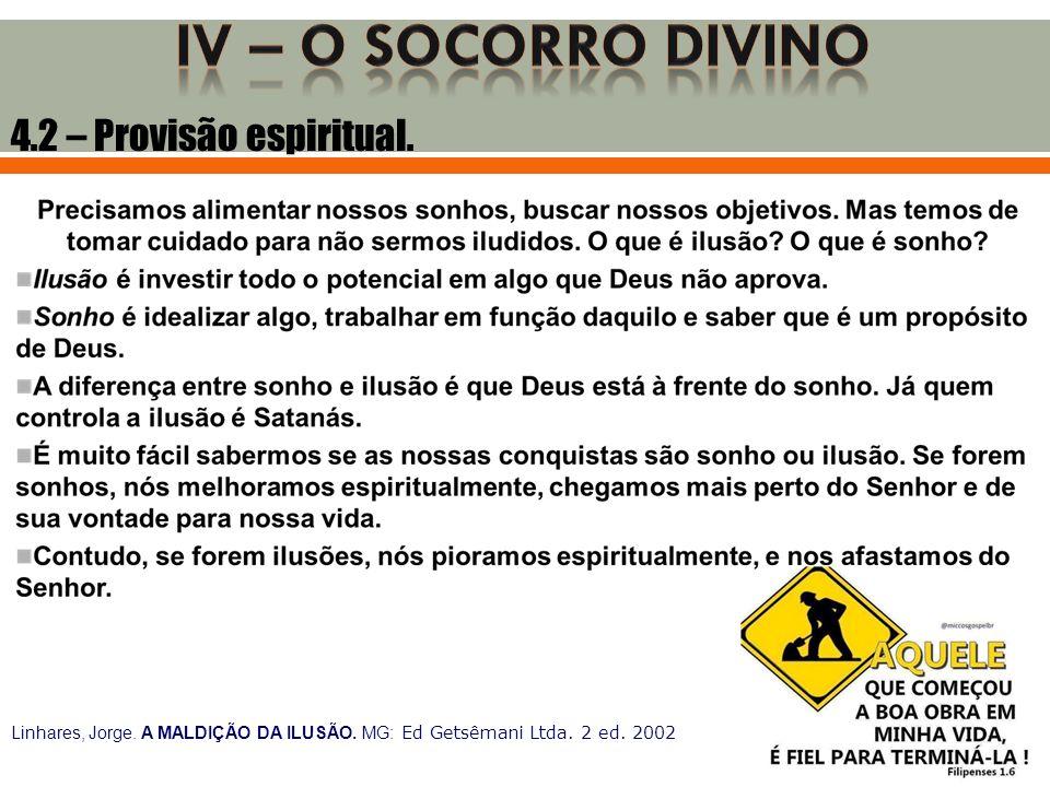 4.2 – Provisão espiritual. Linhares, Jorge. A MALDIÇÃO DA ILUSÃO. MG: Ed Getsêmani Ltda. 2 ed. 2002