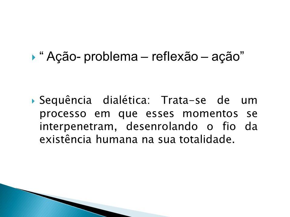 Ação- problema – reflexão – ação Sequência dialética: Trata-se de um processo em que esses momentos se interpenetram, desenrolando o fio da existência