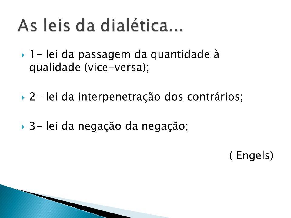 1- lei da passagem da quantidade à qualidade (vice-versa); 2- lei da interpenetração dos contrários; 3- lei da negação da negação; ( Engels)