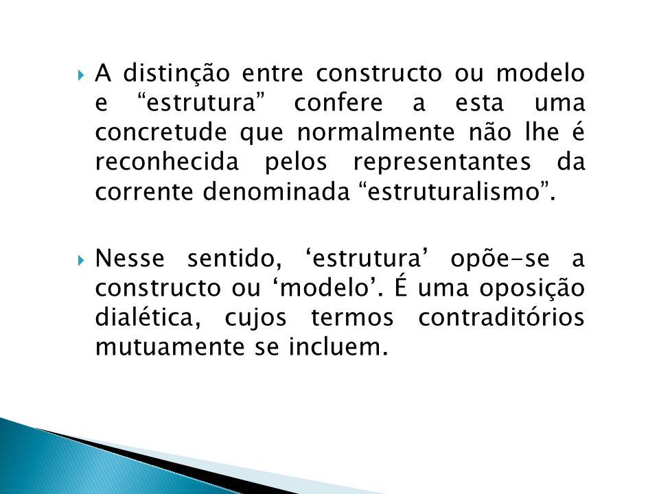 A distinção entre constructo ou modelo e estrutura confere a esta uma concretude que normalmente não lhe é reconhecida pelos representantes da corrent