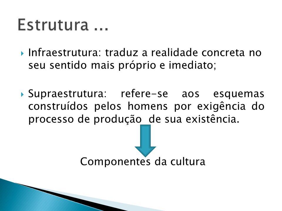 Infraestrutura: traduz a realidade concreta no seu sentido mais próprio e imediato; Supraestrutura: refere-se aos esquemas construídos pelos homens po