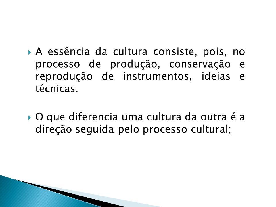 A essência da cultura consiste, pois, no processo de produção, conservação e reprodução de instrumentos, ideias e técnicas. O que diferencia uma cultu