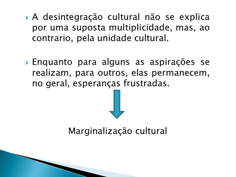 A desintegração cultural não se explica por uma suposta multiplicidade, mas, ao contrario, pela unidade cultural. Enquanto para alguns as aspirações s