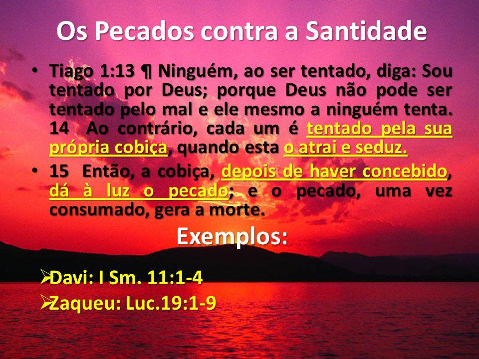 Os Pecados contra a Santidade Tiago 1:13 ¶ Ninguém, ao ser tentado, diga: Sou tentado por Deus; porque Deus não pode ser tentado pelo mal e ele mesmo