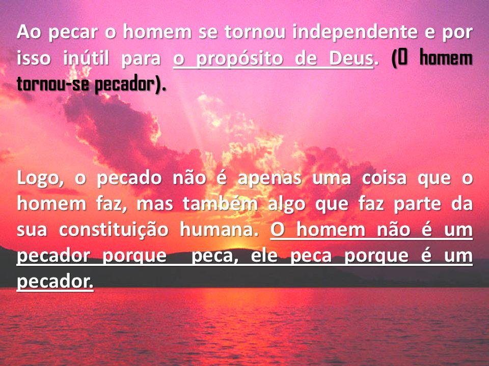 Ao pecar o homem se tornou independente e por isso inútil para o propósito de Deus. ( O homem tornou-se pecador ). Logo, o pecado não é apenas uma coi