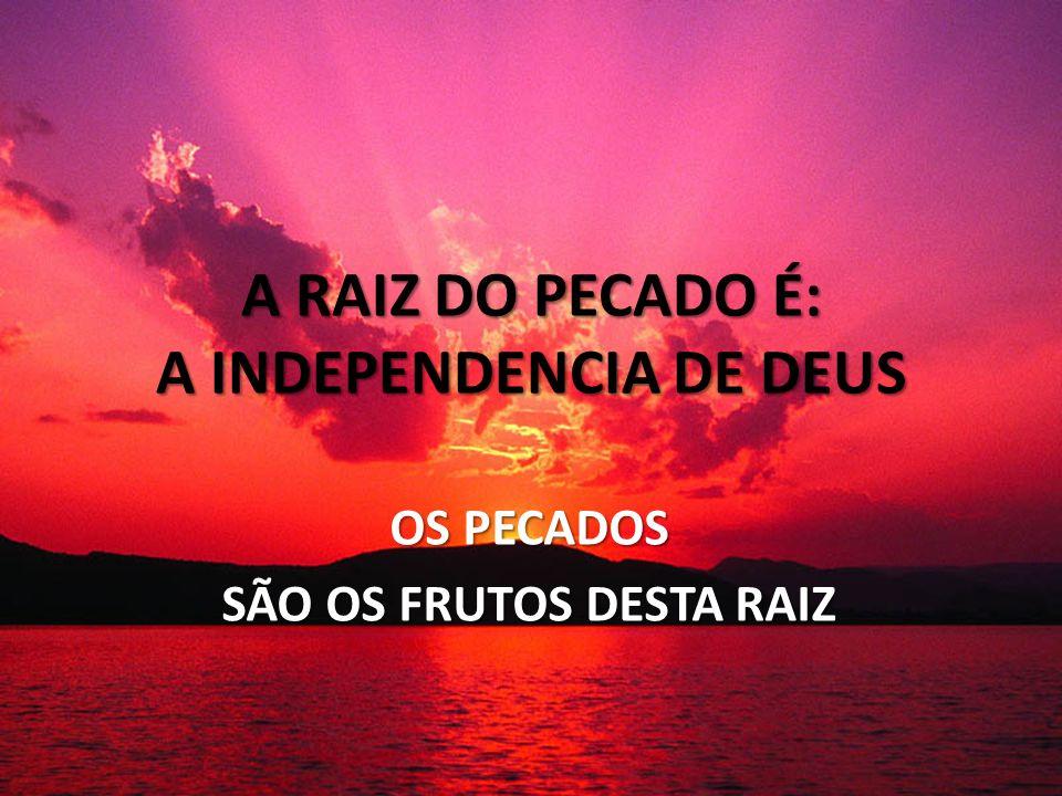 A RAIZ DO PECADO É: A INDEPENDENCIA DE DEUS OS PECADOS SÃO OS FRUTOS DESTA RAIZ