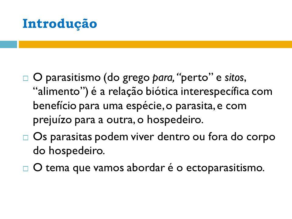 Introdução O parasitismo (do grego para, perto e sitos, alimento) é a relação biótica interespecífica com benefício para uma espécie, o parasita, e com prejuízo para a outra, o hospedeiro.