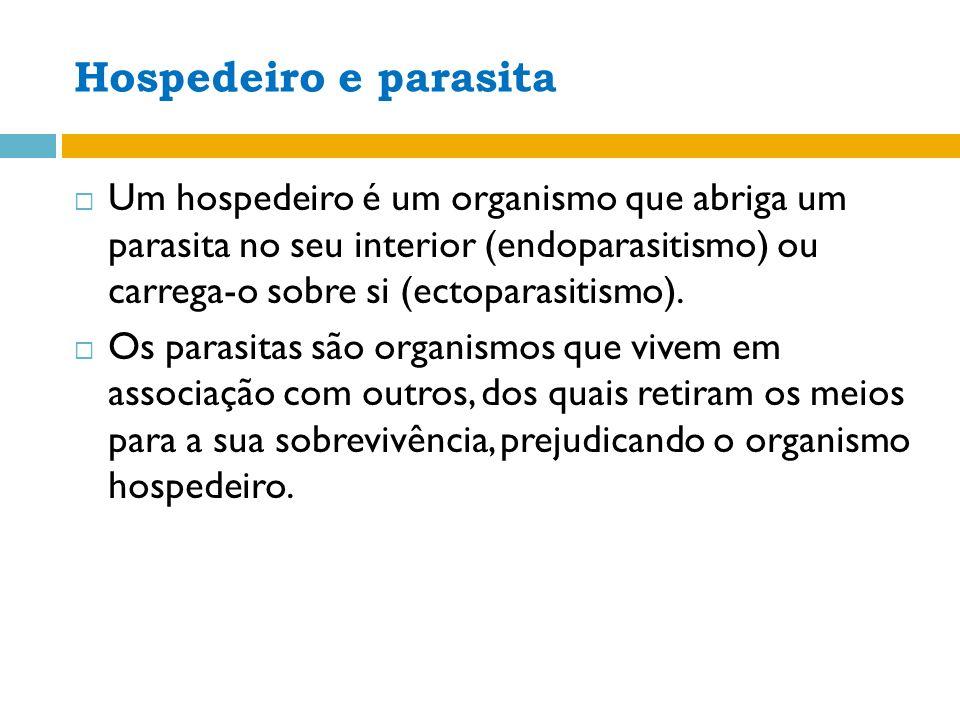 Hospedeiro e parasita Um hospedeiro é um organismo que abriga um parasita no seu interior (endoparasitismo) ou carrega-o sobre si (ectoparasitismo).