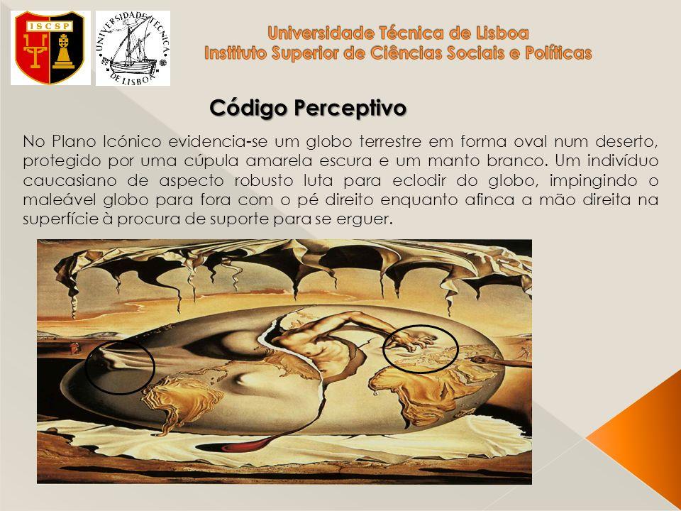Código Perceptivo No Plano Icónico evidencia-se um globo terrestre em forma oval num deserto, protegido por uma cúpula amarela escura e um manto branc