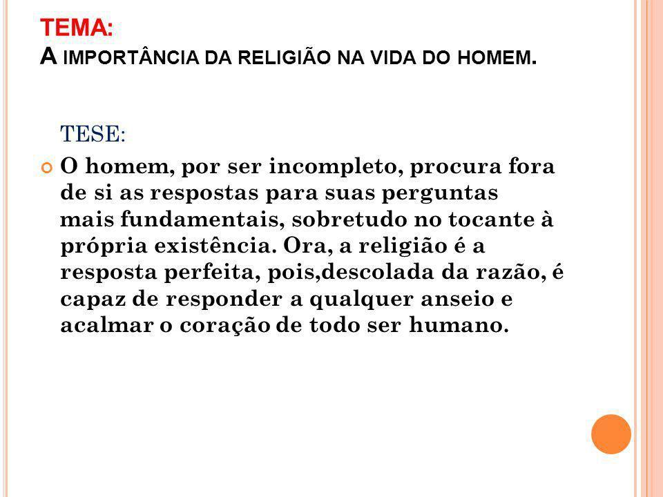 TEMA: A IMPORTÂNCIA DA RELIGIÃO NA VIDA DO HOMEM.