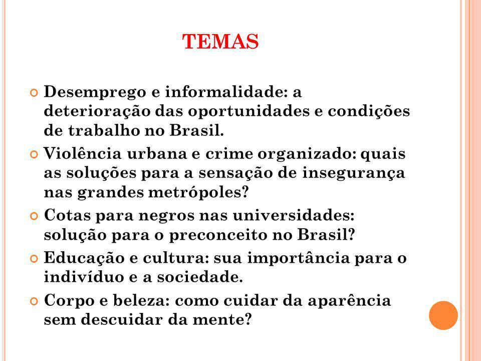 TEMAS Desemprego e informalidade: a deterioração das oportunidades e condições de trabalho no Brasil.