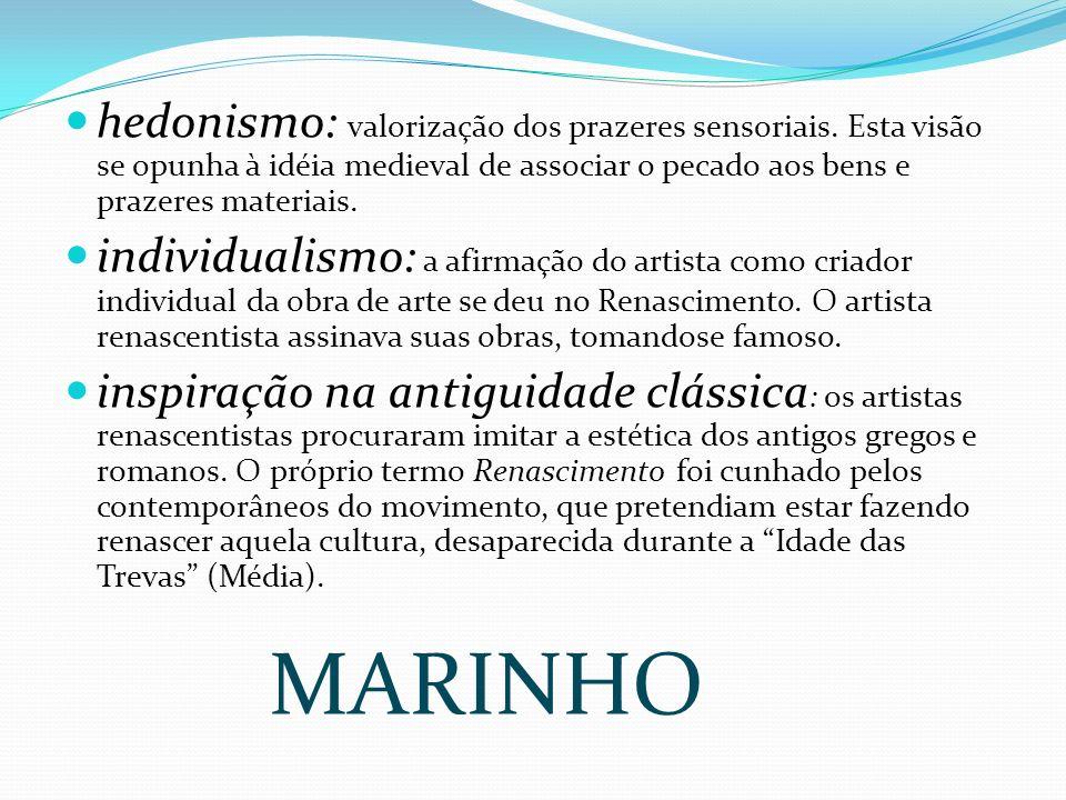 Características Gerais do Renascimento : antropocentrismo ( o homem no centro): valorização do homem como ser racional.
