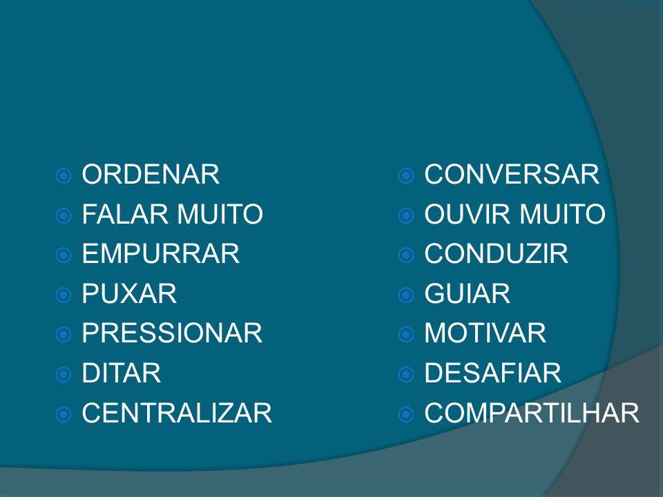 ORDENAR FALAR MUITO EMPURRAR PUXAR PRESSIONAR DITAR CENTRALIZAR CONVERSAR OUVIR MUITO CONDUZIR GUIAR MOTIVAR DESAFIAR COMPARTILHAR
