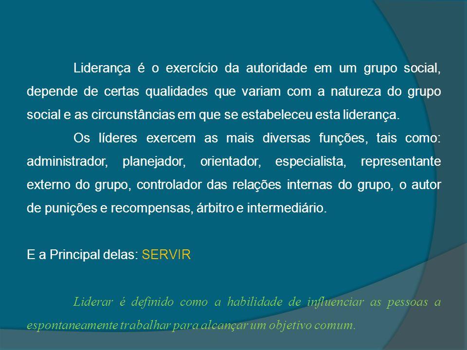 Liderança é o exercício da autoridade em um grupo social, depende de certas qualidades que variam com a natureza do grupo social e as circunstâncias e