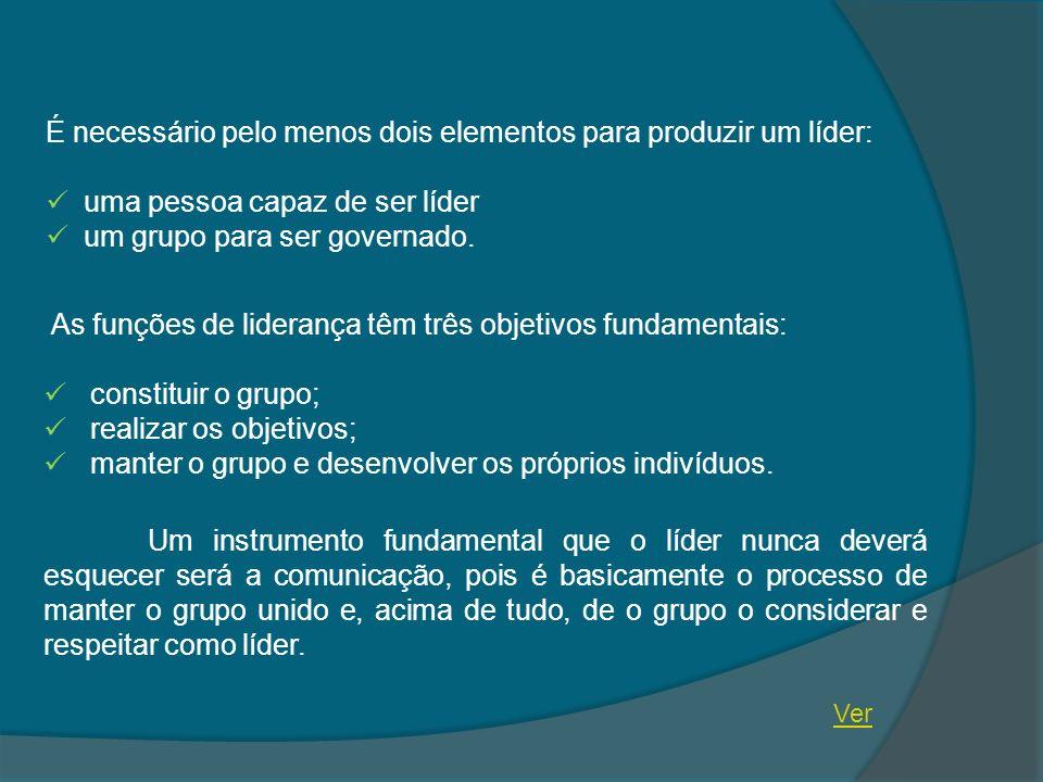 É necessário pelo menos dois elementos para produzir um líder: uma pessoa capaz de ser líder um grupo para ser governado. As funções de liderança têm