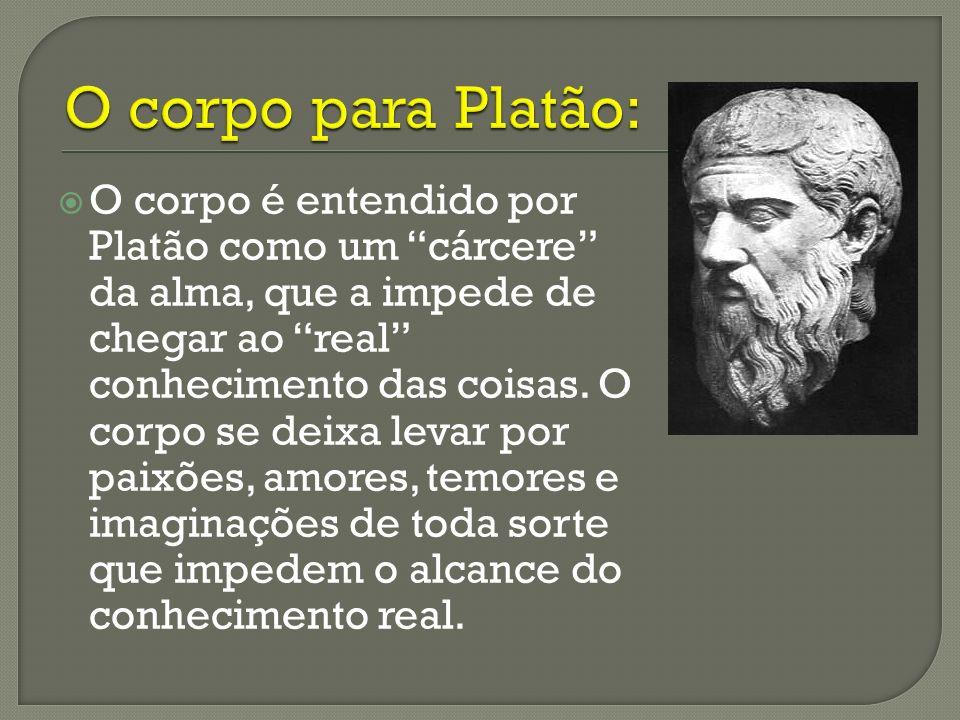 O corpo é entendido por Platão como um cárcere da alma, que a impede de chegar ao real conhecimento das coisas. O corpo se deixa levar por paixões, am
