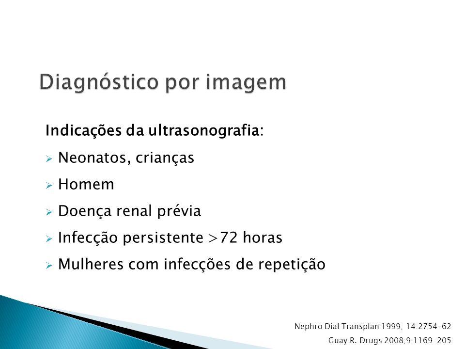 Indicações da ultrasonografia: Neonatos, crianças Homem Doença renal prévia Infecção persistente >72 horas Mulheres com infecções de repetição Nephro