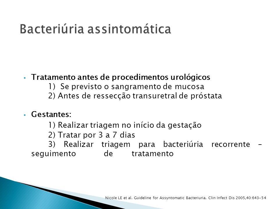 Tratamento antes de procedimentos urológicos 1) Se previsto o sangramento de mucosa 2) Antes de ressecção transuretral de próstata Gestantes: 1) Reali
