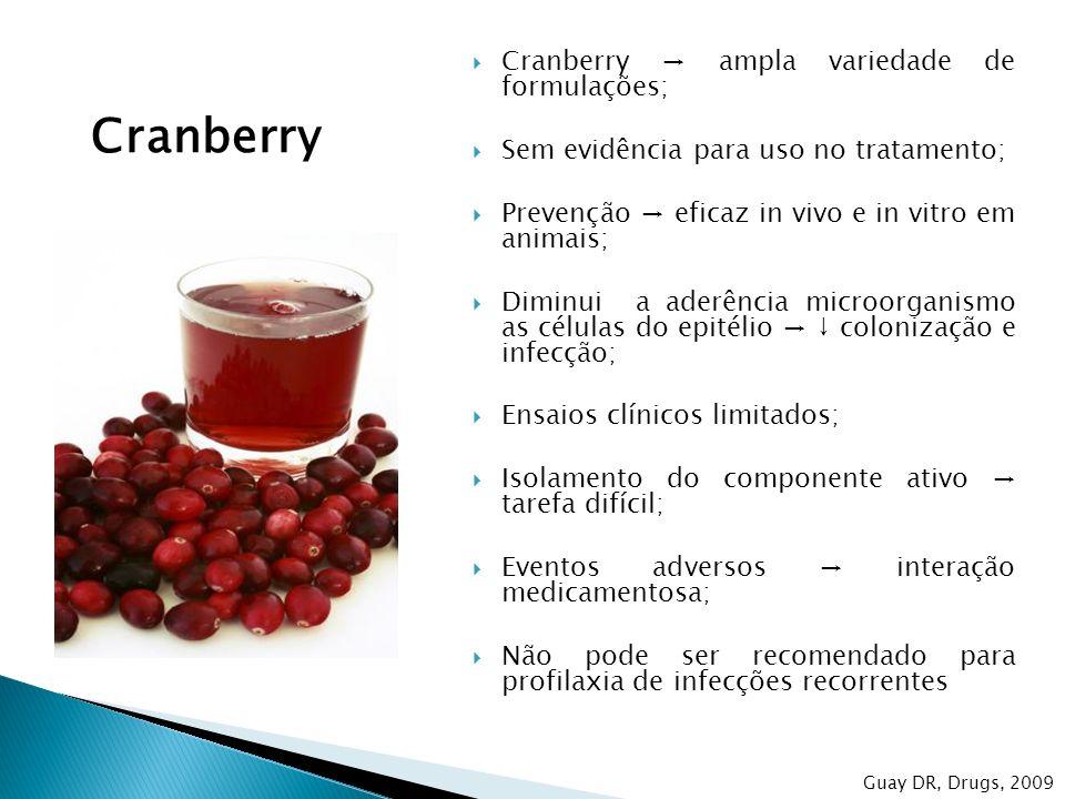 Cranberry ampla variedade de formulações; Sem evidência para uso no tratamento; Prevenção eficaz in vivo e in vitro em animais; Diminui a aderência mi