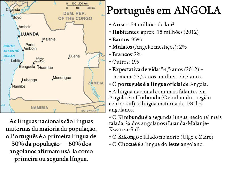 Português de Moçambique Área: 801.000 km 2 Habitantes: 23.5 milhões (2012) Expectativa de vida: 52% (2012), Homens: 51.2%, Mulheres: 52.8% 43 línguas nacionais de origem banto (99% da população) falantes de Português, língua oficial – primeira e segunda língua: 50% (primeira língua: 11%) Makua: 26% Changana: 11% Inglês: língua de contacto