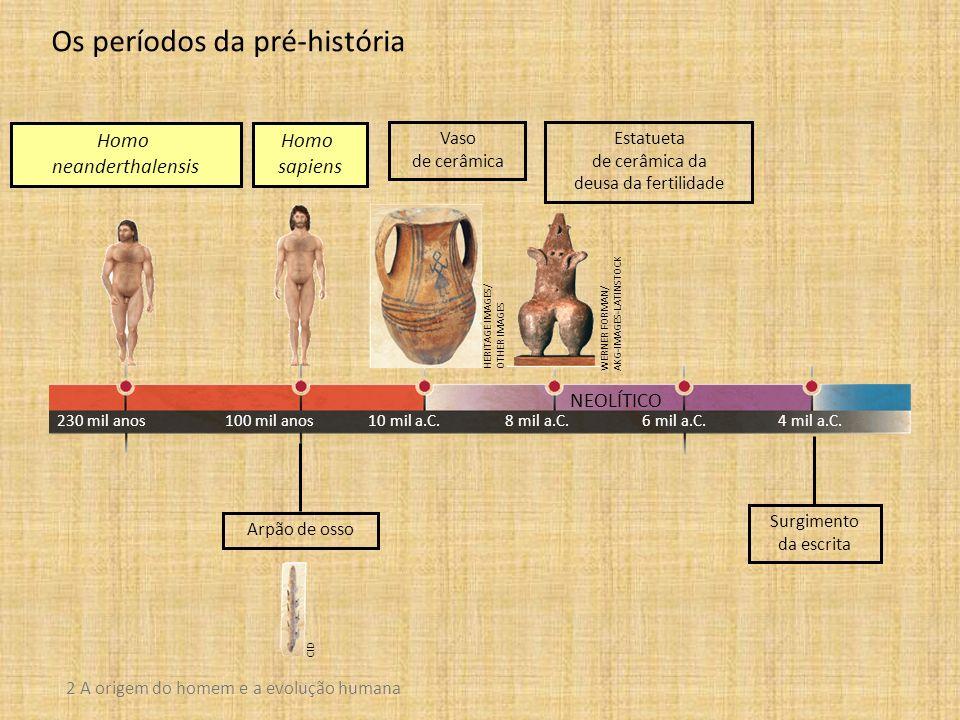 NEOLÍTICO 2 A origem do homem e a evolução humana Os períodos da pré-história Homo neanderthalensis Homo sapiens 230 mil anos100 mil anos10 mil a.C.8