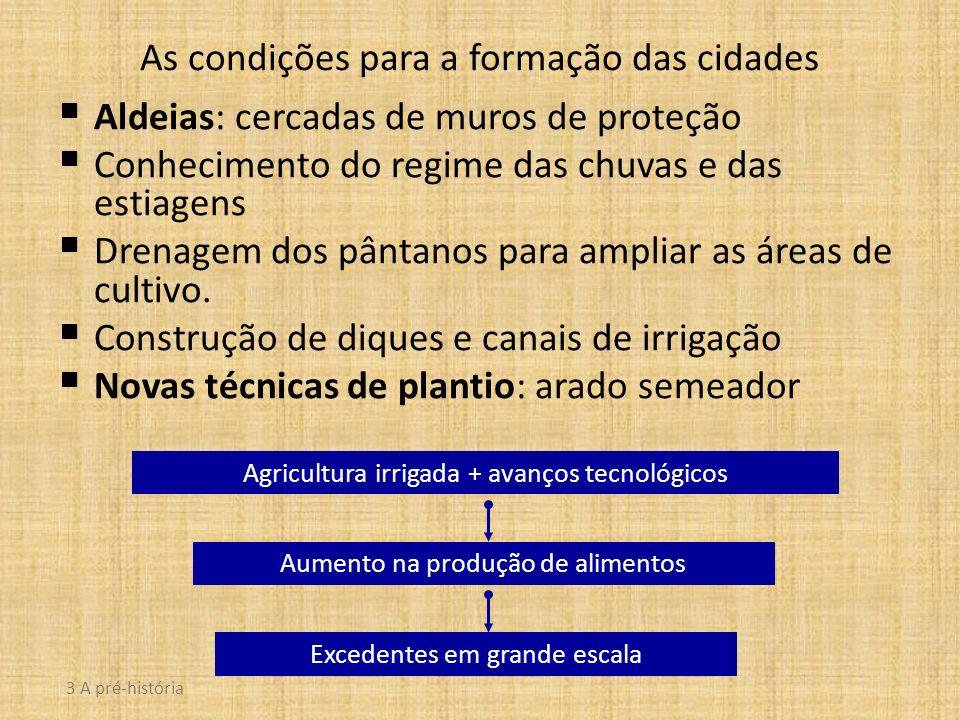 As condições para a formação das cidades Aldeias: cercadas de muros de proteção Conhecimento do regime das chuvas e das estiagens Drenagem dos pântano