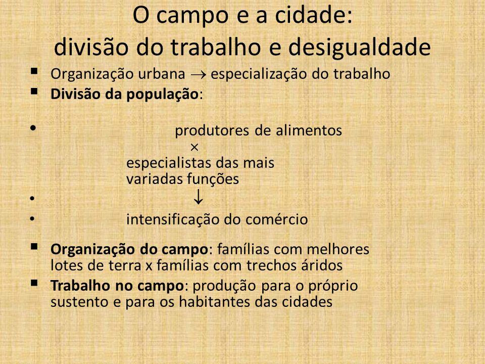 O campo e a cidade: divisão do trabalho e desigualdade Organização urbana especialização do trabalho Divisão da população: produtores de alimentos esp