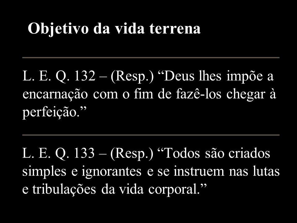 L.E. Q. 132 – (Resp.) Deus lhes impõe a encarnação com o fim de fazê-los chegar à perfeição.