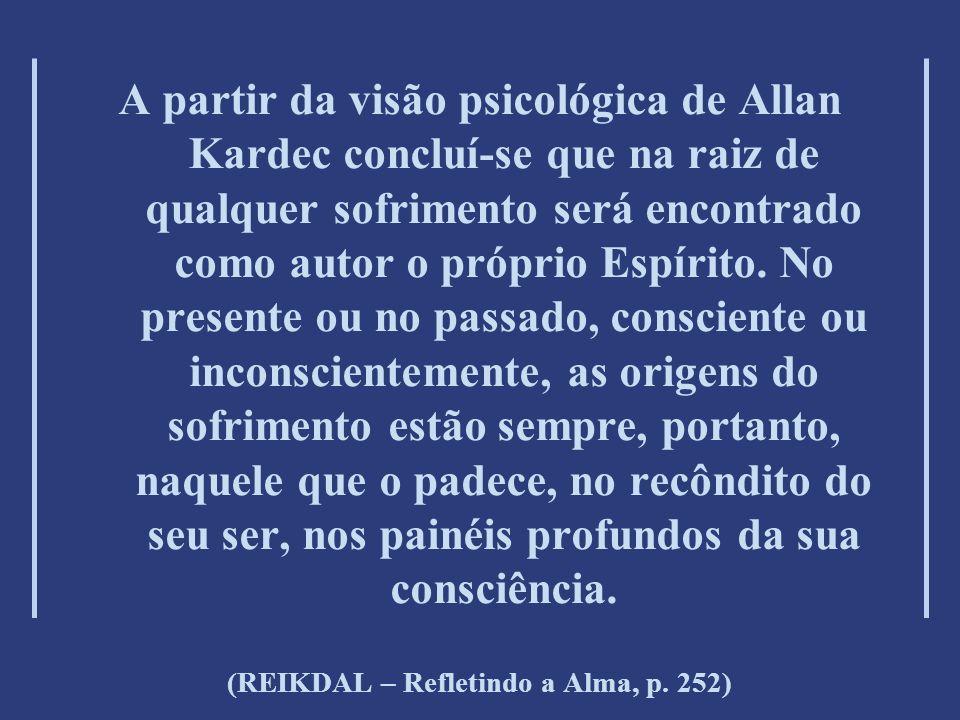 A partir da visão psicológica de Allan Kardec concluí-se que na raiz de qualquer sofrimento será encontrado como autor o próprio Espírito.