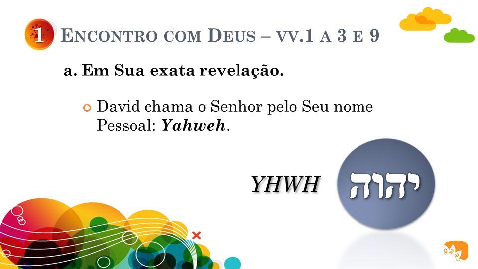 E NCONTRO COM D EUS – VV.1 A 3 E 9 David adora a Deus encontrando-O a partir de: 1 a. Sua exata revelação. b. Sua exata posição. c. Sua exata manifest