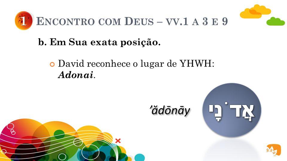 E NCONTRO COM D EUS – VV.1 A 3 E 9 David adora a Deus encontrando-O a partir de: 1 a. Sua exata revelação. b. Sua exata posição.