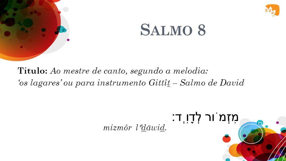 SALMO 8 O Senhor e Sua Glória...