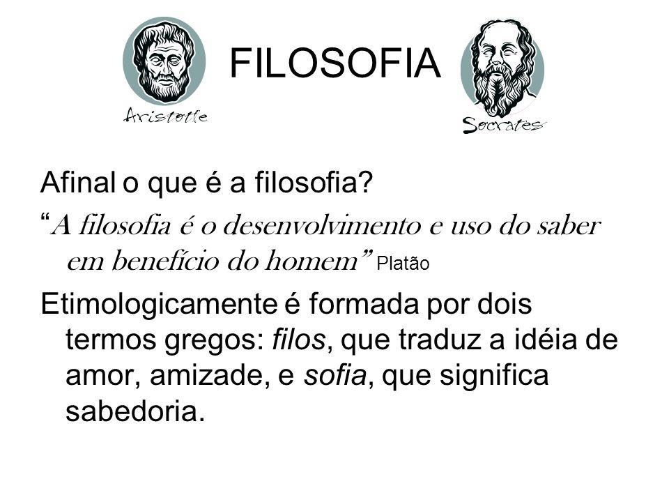 FILOSOFIA Afinal o que é a filosofia? A filosofia é o desenvolvimento e uso do saber em benefício do homem Platão Etimologicamente é formada por dois