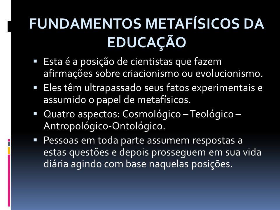 FUNDAMENTOS ANTROPOLÓGICOS DA EDUCAÇÃO Teorias pedagógicas caracterizam o conceito de homem que animam suas diretrizes.