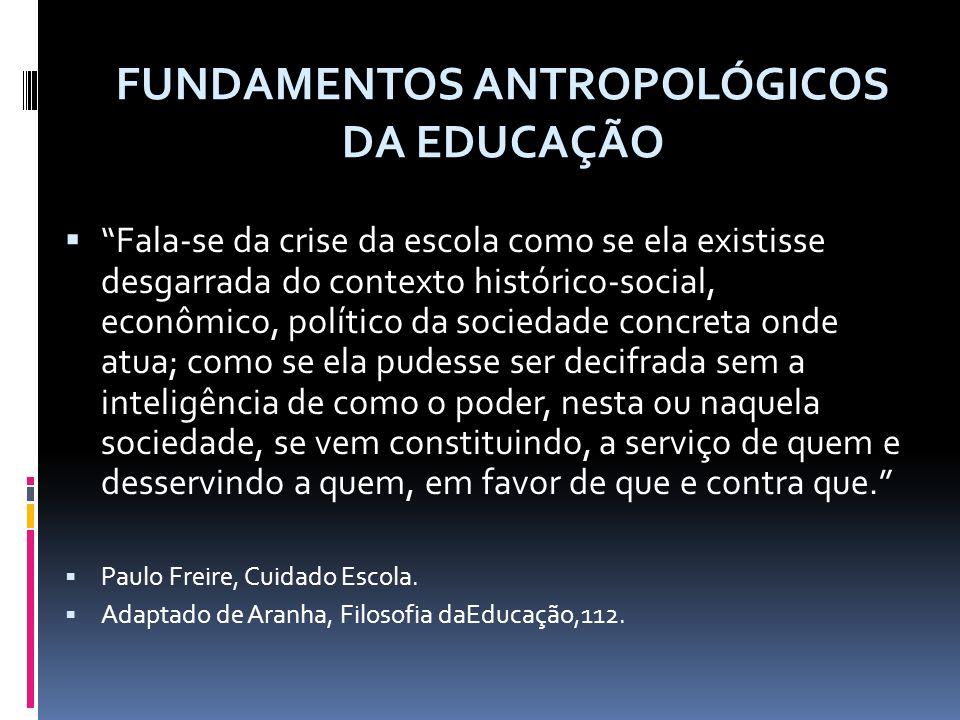 Fala-se da crise da escola como se ela existisse desgarrada do contexto histórico-social, econômico, político da sociedade concreta onde atua; como se