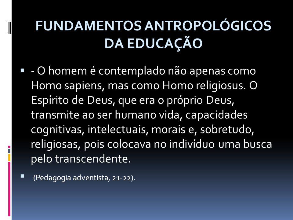 - O homem é contemplado não apenas como Homo sapiens, mas como Homo religiosus.