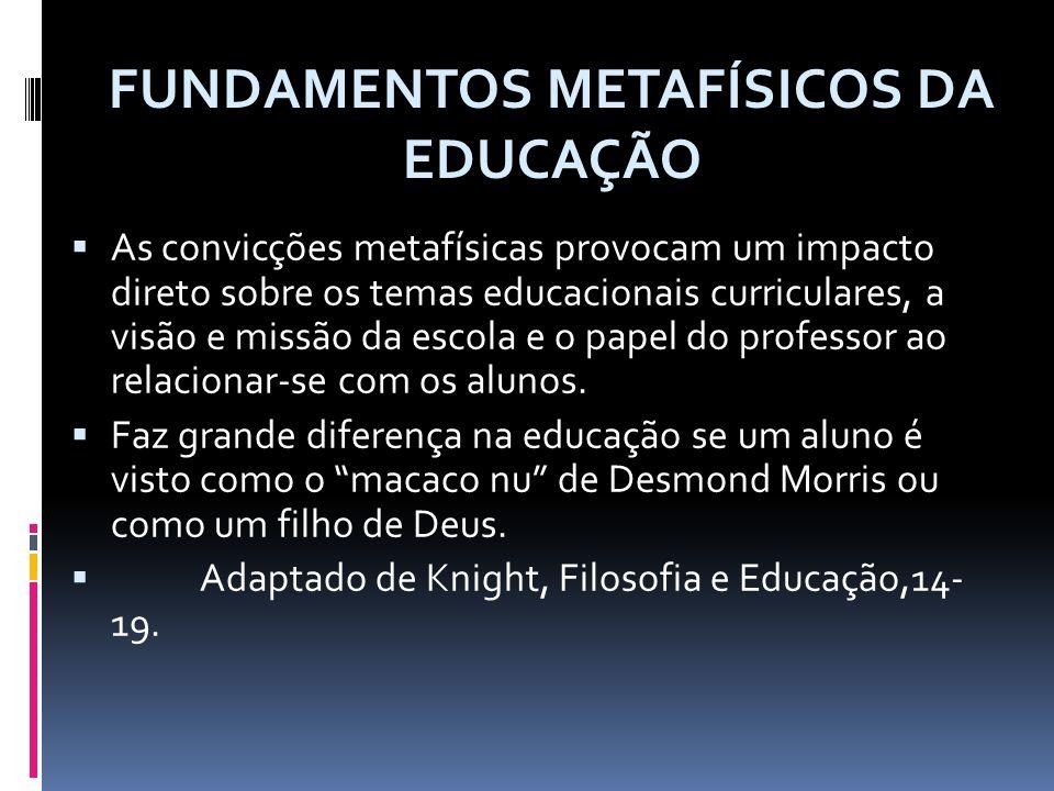 As convicções metafísicas provocam um impacto direto sobre os temas educacionais curriculares, a visão e missão da escola e o papel do professor ao re