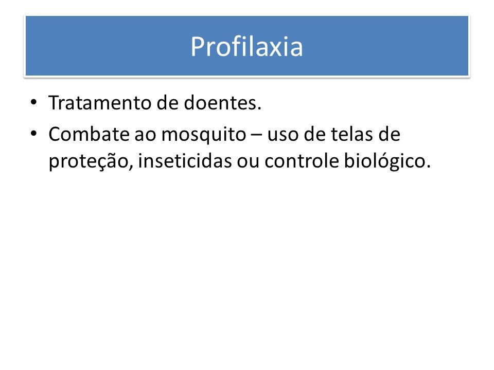 Profilaxia Tratamento de doentes. Combate ao mosquito – uso de telas de proteção, inseticidas ou controle biológico.