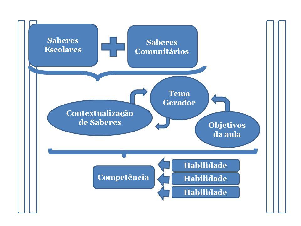 Contextualização de Saberes Saberes Escolares Saberes Comunitários Tema Gerador Objetivos da aula Competência Habilidade