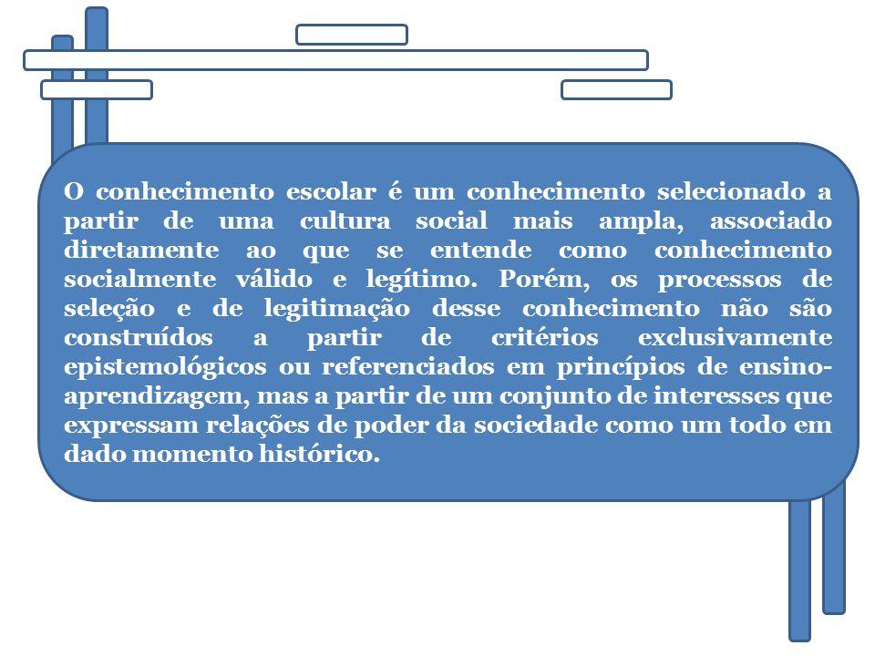 O conhecimento escolar é um conhecimento selecionado a partir de uma cultura social mais ampla, associado diretamente ao que se entende como conhecimento socialmente válido e legítimo.