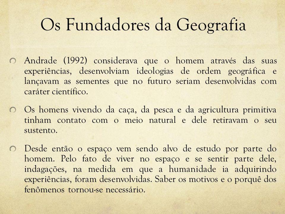 Os Fundadores da Geografia Andrade (1992) considerava que o homem através das suas experiências, desenvolviam ideologias de ordem geográfica e lançava