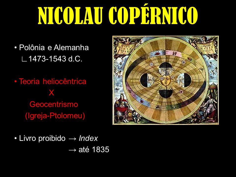 NICOLAU COPÉRNICO Polônia e Alemanha 1473-1543 d.C. Teoria heliocêntrica X Geocentrismo (Igreja-Ptolomeu) Livro proibido Index até 1835