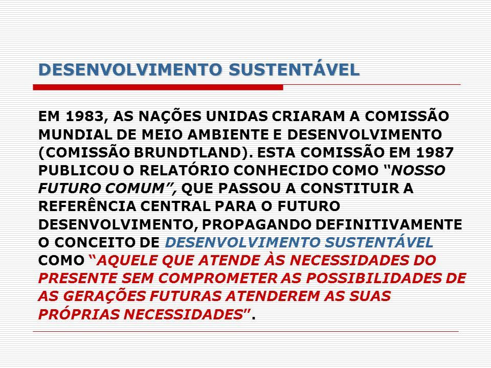 DESENVOLVIMENTO SUSTENTÁVEL EM 1983, AS NAÇÕES UNIDAS CRIARAM A COMISSÃO MUNDIAL DE MEIO AMBIENTE E DESENVOLVIMENTO (COMISSÃO BRUNDTLAND). ESTA COMISS