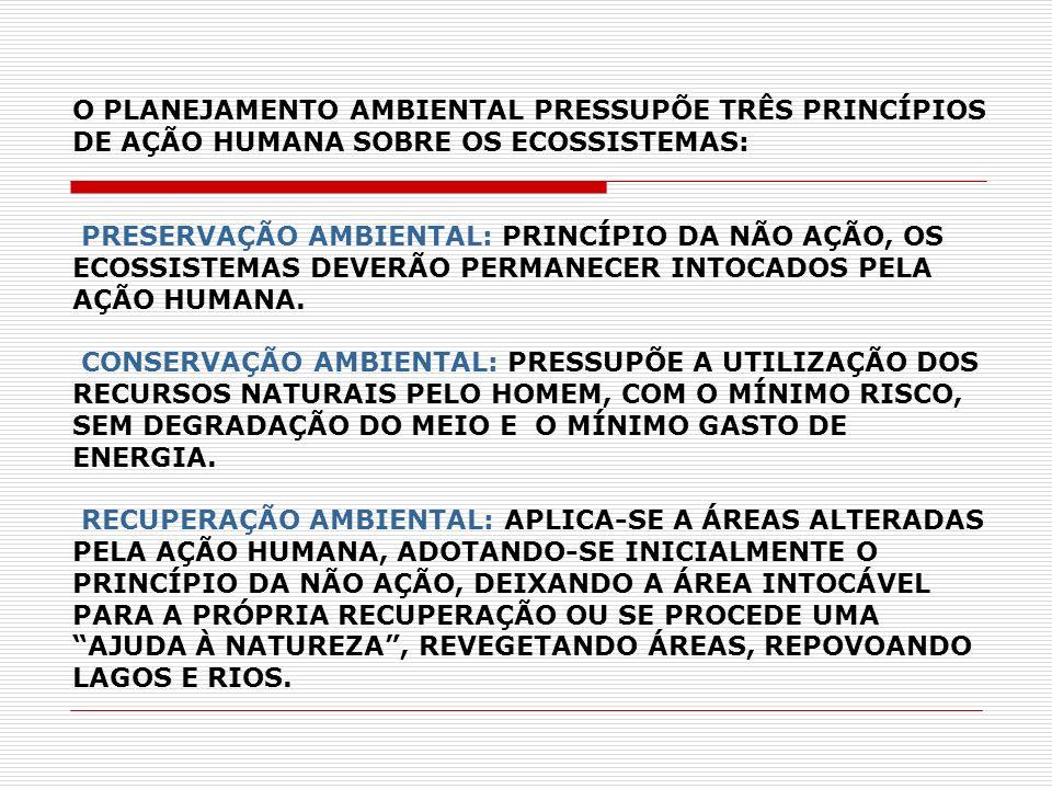 O PLANEJAMENTO AMBIENTAL PRESSUPÕE TRÊS PRINCÍPIOS DE AÇÃO HUMANA SOBRE OS ECOSSISTEMAS: PRESERVAÇÃO AMBIENTAL: PRINCÍPIO DA NÃO AÇÃO, OS ECOSSISTEMAS