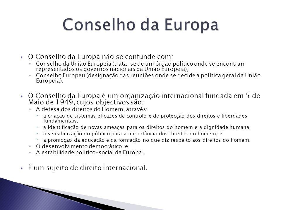 O Conselho da Europa não se confunde com: Conselho da União Europeia (trata-se de um órgão político onde se encontram representados os governos nacionais da União Europeia); Conselho Europeu (designação das reuniões onde se decide a política geral da União Europeia).
